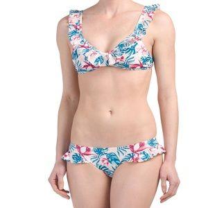 Tropical ruffled bikini set